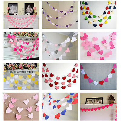 CH 1m Heart Paper Garland Banner Bunting Drop Baby Shower Wedding Party Decor