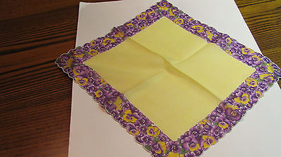 """Vintage Colorful Purple Pansies Yellow Center Cotton Scalloped Hankie 12"""""""