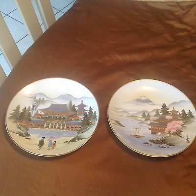 """Pair Antique 8"""" Japanese Gilded Satsuma Plates Red Mark Mountains, Temple, EC"""