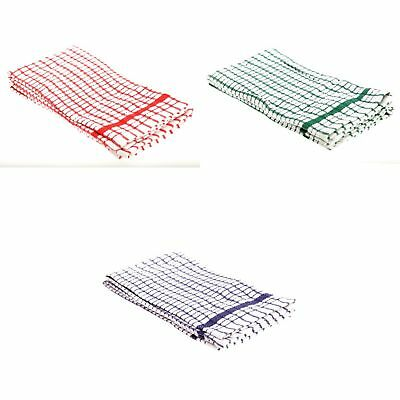 Cotton Terry Check Design Kitchen Tea Towels (Pack Of 2)