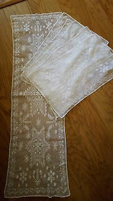 Vintage Delicate White Lace Runner and 5 Placemats