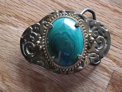 Vintage Baron Buckles Solid Brass And Green Stone Belt Buckle