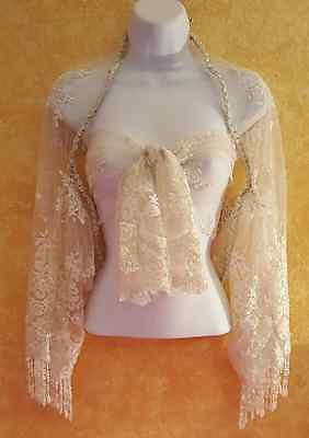 Ivory Faux Pearl Beaded Lace Silver Trim Shrug Wrap Bridal Wedding Jacket