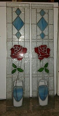 2- (Matching) Beautiful Rose pattern stained glass windows. Leaded. 36h x7w. Ex.