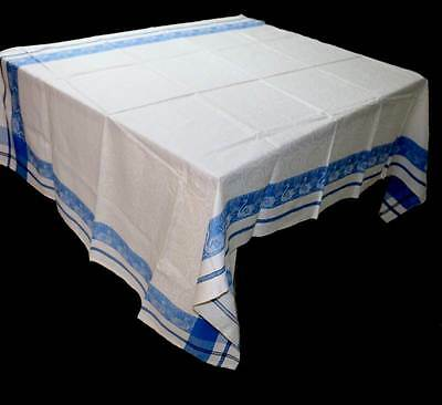 Vintage blue & white damask swan edged tablecloth  Measures approx 220cm x 130cm
