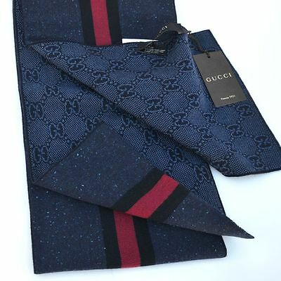 GUCCI New Authentic Designer Guccissima GG Womens Mens Scarf wool navy
