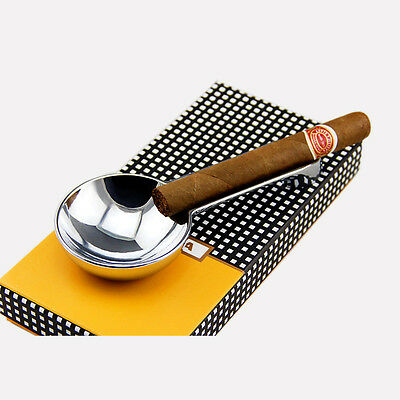 COHIBA Silver Metal Mini Single-side Cigar Ashtray Showing Stand In Gift Box