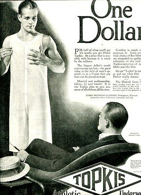 1926 TOPKIS Mens Athletic UNDERWEAR Ad. Handsome Man Models For Seated Gentleman
