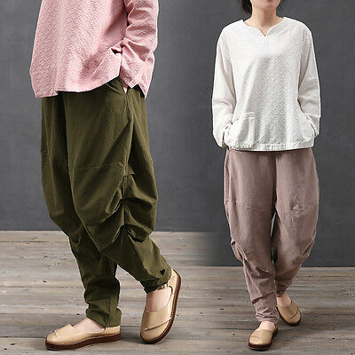 Women Lady Cotton Linen Pants Trousers Loose Turnip Knickers Bloomers Casual