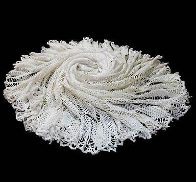 Huge vintage off white round crochet lace tablecloth or throw approx 200cm acros
