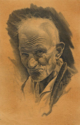 Joseph Henry Lynch - Very Fine Mid 20th Century Charcoal Drawing, Elderly Man