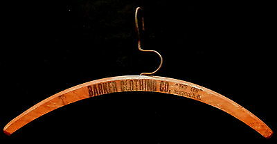 """Steel Hook Wood Clothes Hanger BARKER CLOTHING COMPANY """"NUF CED"""" NEWPORT NH"""