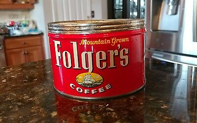 Vintage FOLGER'S COFFEE Tin Can without Lid Mountain Grown 1 Lb. 1959 Ship Style