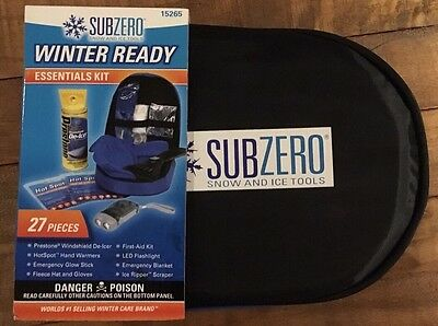 Subzero Winter Ready Essentials Car Kit - Snow and Ice Tools w/ Case, 15265, New