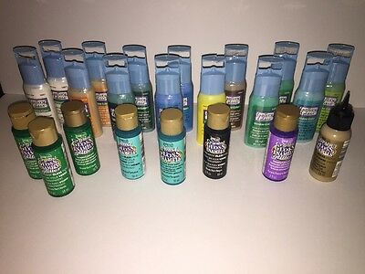 New Plaid Gallery Glass Stained Window Color Paints Set 22 Lot 2 Oz Americana