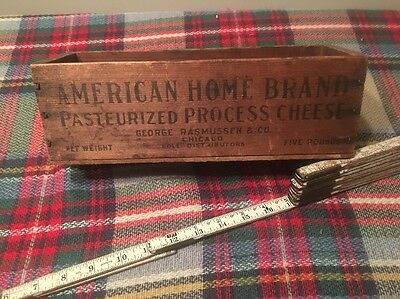 Vintage American Home Brand 5 pound wood cheese box George Rasmussen & Co