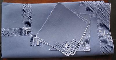 Quality Linen Vintage TABLECLOTH with Three NAPKINS in Blue/White Embroidery