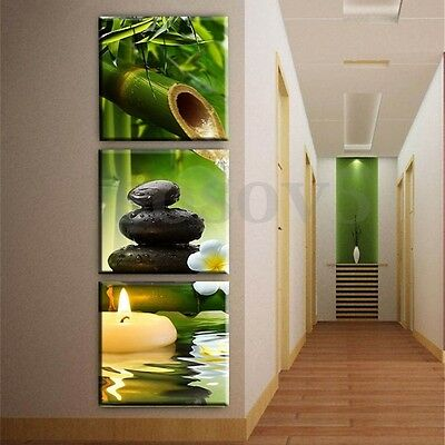 3pcs Bamboo Green Nature Art Oil Painting Canvas Print Pictures Home Wall Decor
