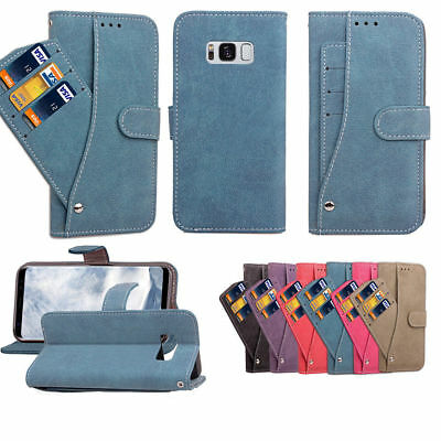 Wallet Magnet Suede Leather Flip Card Stand Case Cover For Samsung S7 S8 Note 8