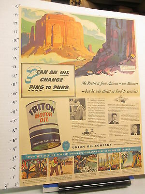 newspaper ad 1940 American Weekly TRITON motor oil can automobile Union 76