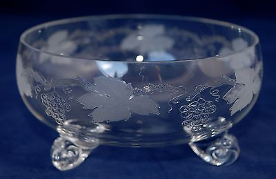 Vintage Fine Crystal GRAPE & VINE Etching Tri-Footed Bowl / Open Sugar 11.3cm
