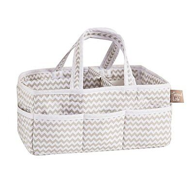 Trend Lab Dove Gray Chevron Storage Caddy White Diaper Stackers Diapering Baby