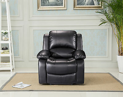 Valencia Bonded Leather Manual Recliner Chair - Black