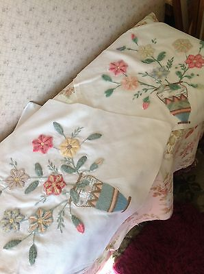 2 X HAND EMBROIDERED CUSHION COVERS - Wool