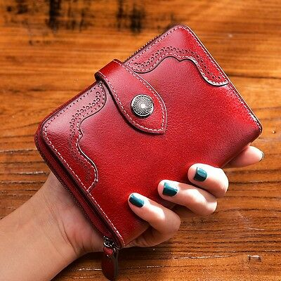 """Popular Retro Women's Bifold Leather Wallet Card Holder Zipped Purse Red """"au"""""""