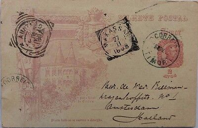 Timor 1898 Illustrated Postal Stationery Card To Holland Via Makassar