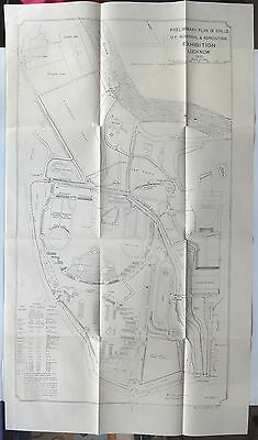 """India 1936 map 1936 UP Industrial & Agricultural Exhibition Lucknow 17"""" x 30"""""""