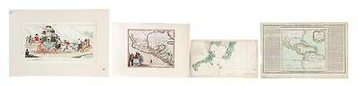 FIVE 18TH-CENTURY COLORED ENGRAVINGS INCLUDING FOUR MAPS. Lot 427