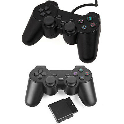 Wired Wireless Controller for PS2 PlayStation 2 Black Dual Shock Joypad Gamepad