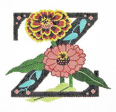 "*NEW* Floral Alphabet Letter /""R/"" handpainted Needlepoint Canvas Design by LEE"