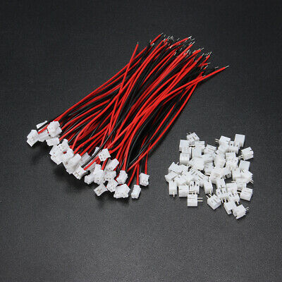 Excellway 100Pcs Mini Micro JST 2.0 PH 2Pin Connector Plug With 120mm Wires Cabl