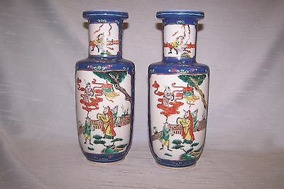 Pair Chinese Blue Ground Famille Verte Rouleau Vases 19c Circa 1870