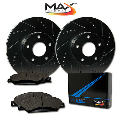 2012 2013 Toyota Matrix 2.4L Black Slotted Drilled Rotor Metallic Pads Front