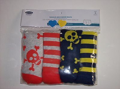 Old Navy Underwear Underpants Boys 4 Skull Boxer Briefs Pk 2T-3T 4T 5Toddler NIP