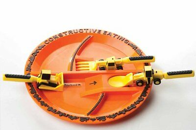 Constructive Eating Construction Utensil Set (3 Piece) with Construction Plate