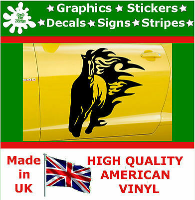 2 x Large Side Graphic Wild Horse Flame Car Sticker Wrap Decal Vinyl Wall Van 7