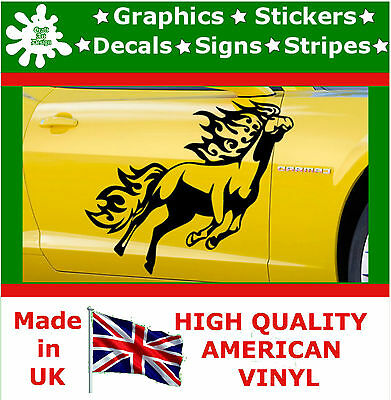 2 x Large Side Graphic Horse Flame Car Sticker Fire Wrap Decal Vinyl Wall Van 13