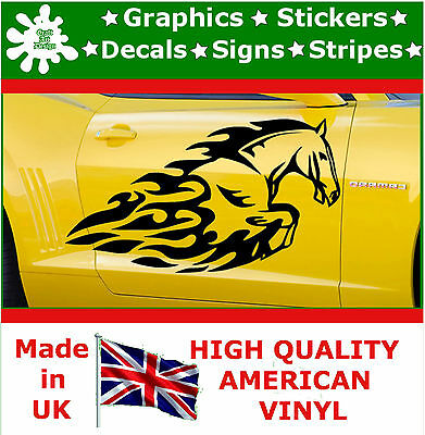 2 x Large Side Graphic Front Horse Flame Car Sticker Wrap Decal Vinyl Wall Van 8