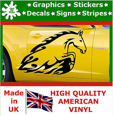 2 x Large Side Graphic Jump Horse Flame Car Sticker Wrap Decal Vinyl Wall Van 11