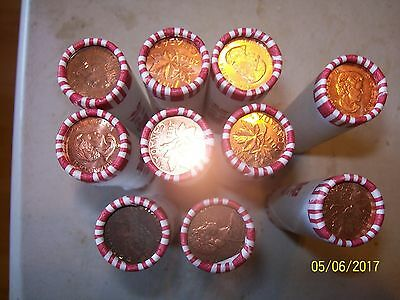 10 rolls canada bank wrapped pennies canadian
