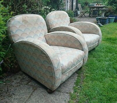 Pair Of Art Deco 1920 1930 Club Armchairs Chairs  Vintage Retro For Reupholstery