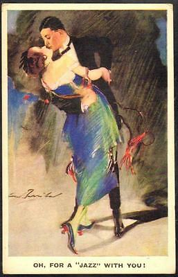 """Vintage Art Deco Postcard - """"Oh, For a """"Jazz"""" With You!"""" - W. Barribal"""