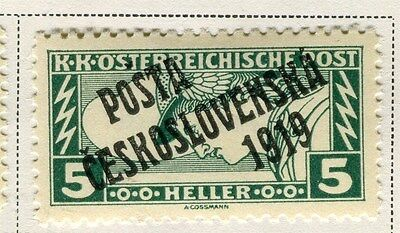 CZECHOSLOVAKIA;   1919 Austria Newspaper Optd. issue fine Mint hinged 5h. value