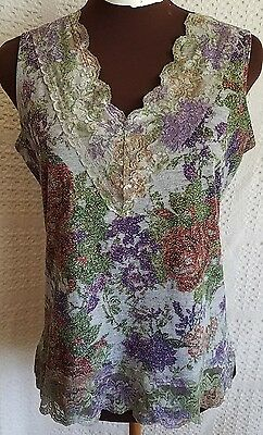 Coldwater Creek Sleeveless Knit Lace V Neck Tank Top Women's Size Small