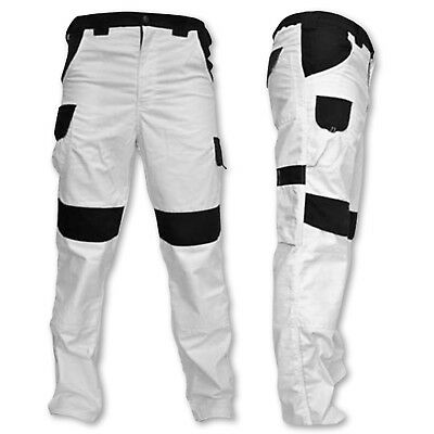 Work Trousers Painters Combat Style Multi Pocket Pants Knee Pad Decorators White