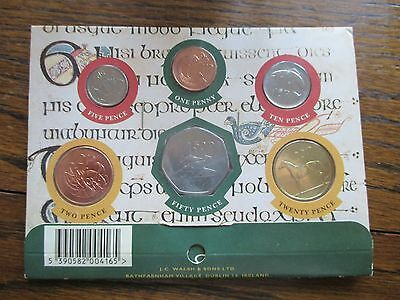 Set of six Irish pre-Euro, decimal coins from 1 p to 50 p in display package